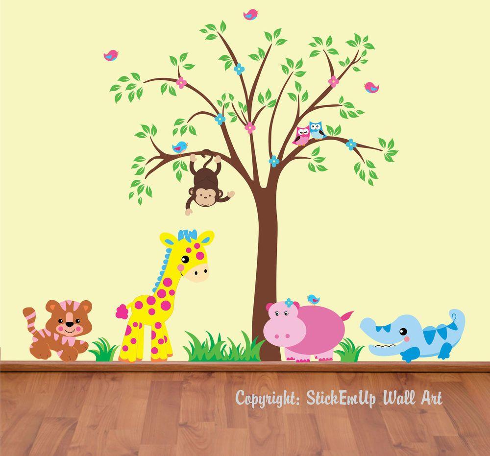 Girls & Boys Wall Decals Baby Room Decor Pastel Colors Safari & Tree ...