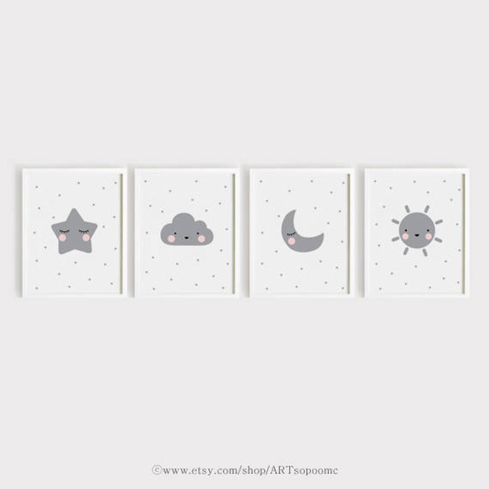 Star Cloud Moon Sun Printable Nursery Art Set Of 4 Poster