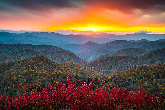 Blue Ridge Parkway Landscape Photography Autumn Sunset Asheville NC