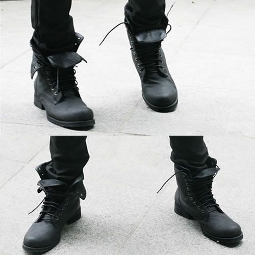 77ad8b55c0fc50 Men Black Leather Lace Up Gothic Punk Military Combat Style Boots  SKU-1280050