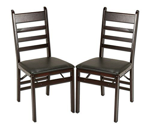 Cosco 2pack Wood Folding Chair With Vinyl Seat And Ladder