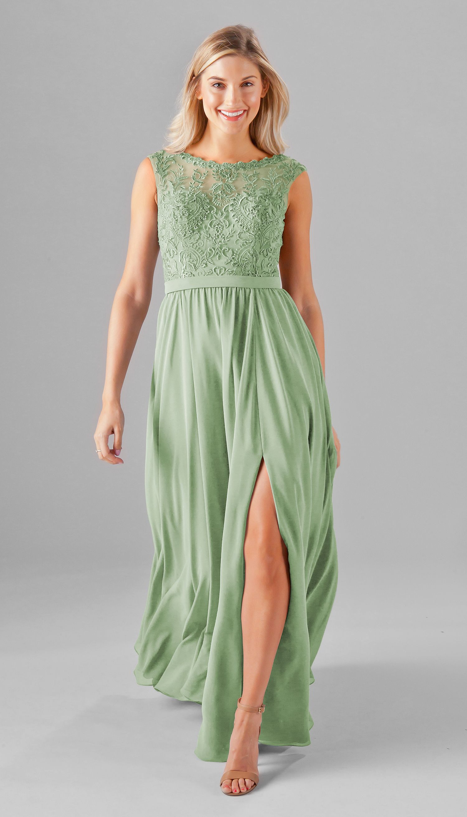 Jade long chiffon skirt lace bridesmaids and embroidered lace a gorgeous embroidered lace bridesmaid dress featuring an embroidered top with an illusion bateau neckline and ombrellifo Image collections