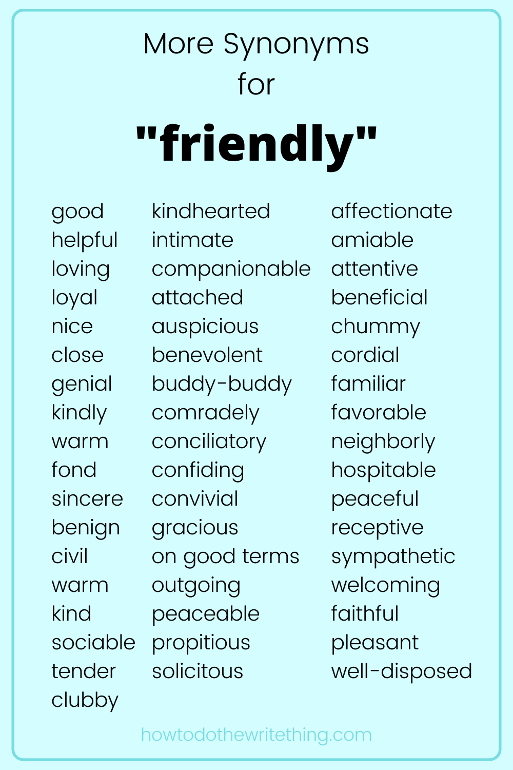 More Synonyms For Friendly Writing Tips Good Vocabulary Words Writing Tips Words To Describe People
