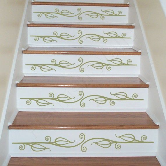 Carved Wood Stair Risers Stair Ideas Stamped Leather: Vinyl Stair Decals For Staircase Riser Decor