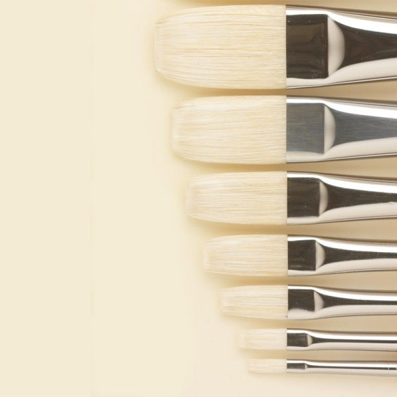 Nylon Flat Bristle Synthetic Oil Painting Brush Art Brushes Artist Supplies CF
