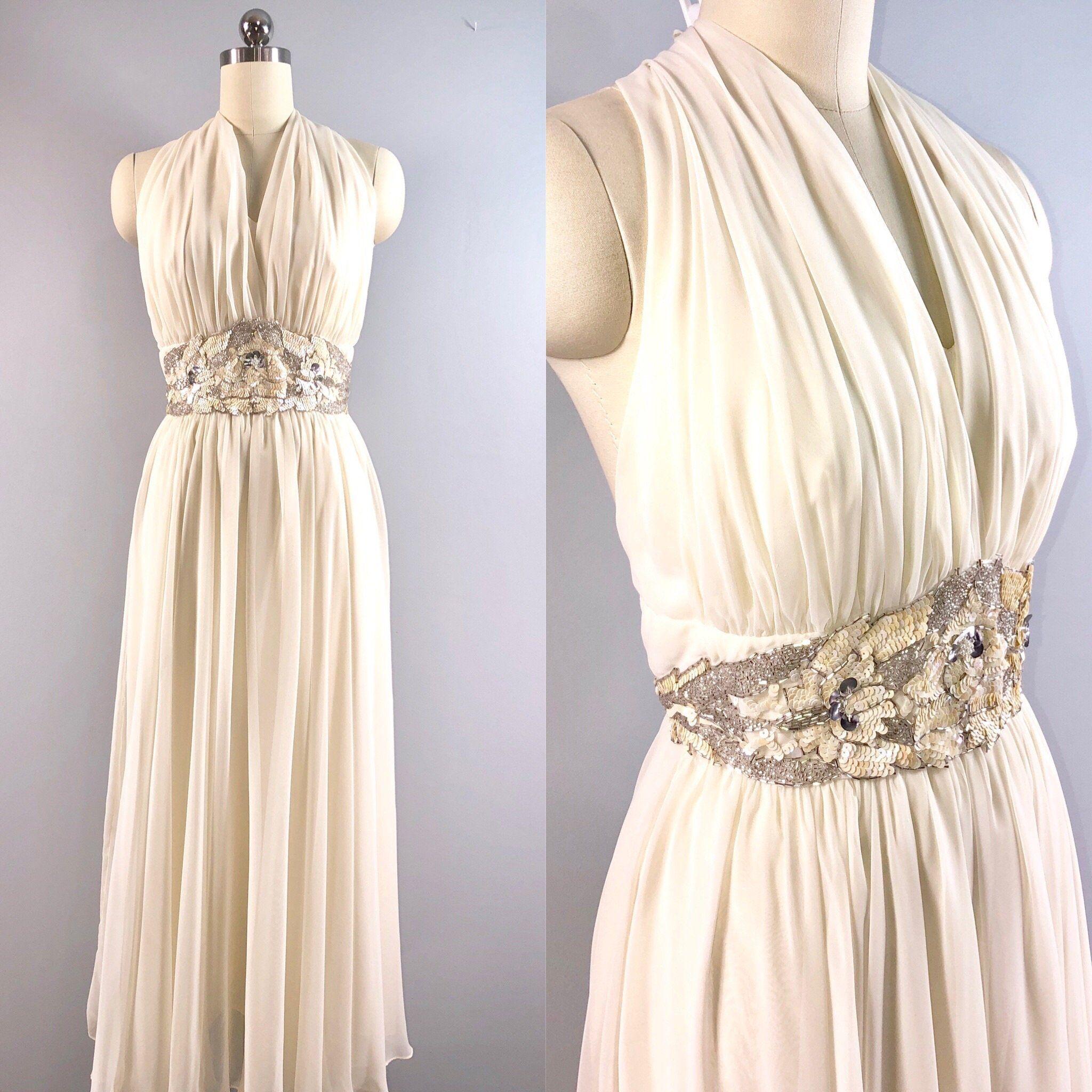 e667f5d8d04 Ursula 70s Vintage 1970s Ivory Chiffon Halter Cocktail Dress Wedding Formal  34 bust