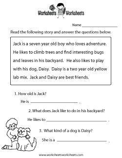 Reading Comprehension Practice Worksheet | teresa | Pinterest ...