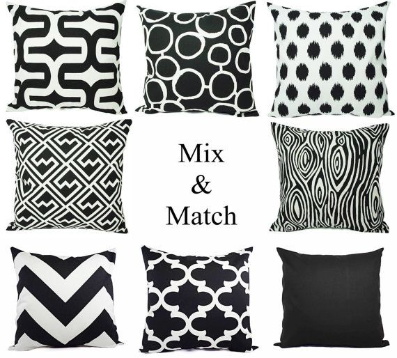 this listing is for one black and white pillow cover this throw pillow cover can - Black Decorative Pillows