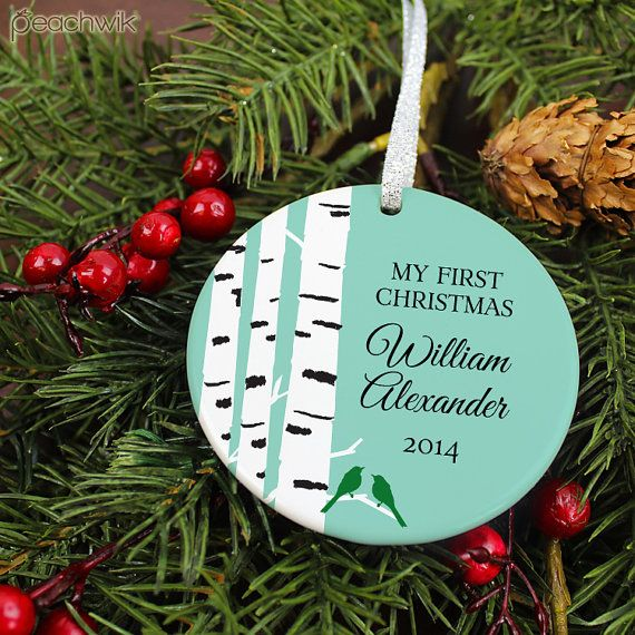 Baby's First Christmas Ornament Ornament  Birch Tree & by peachwik