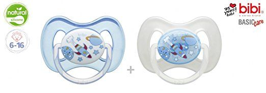 "BIBI SWISS Basic Care ""BLUE PLAIN"" Nr.112704 - 2x Pacifiers Soothers Dummnies Physiological Natural Silicone/ BLUE + WHITE (6-16m)"