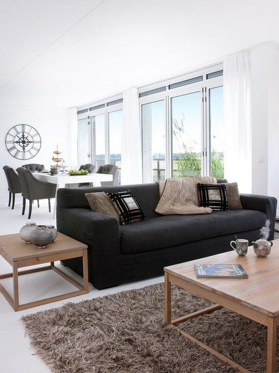 Thick Shaggy Carpet Modern Chic Interior Design Ideas Wooden Coffee Table Bocadolo Modern Furniture Living Room Dark Furniture Living Room Black Couch Decor