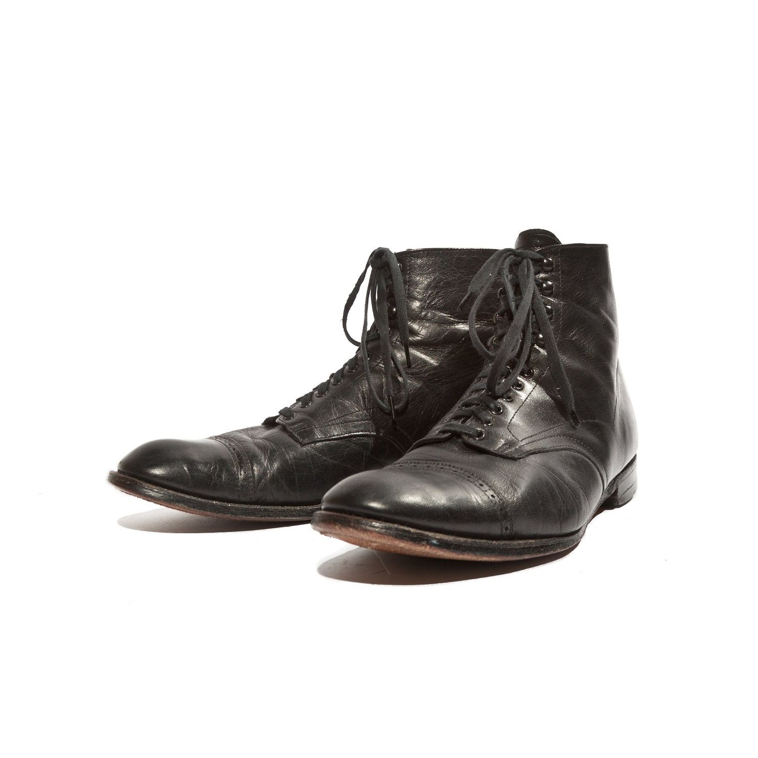 303f00a174e Vintage Stacy Adams Madison Boots Black Leather Cap Toe Brogue Ankle ...