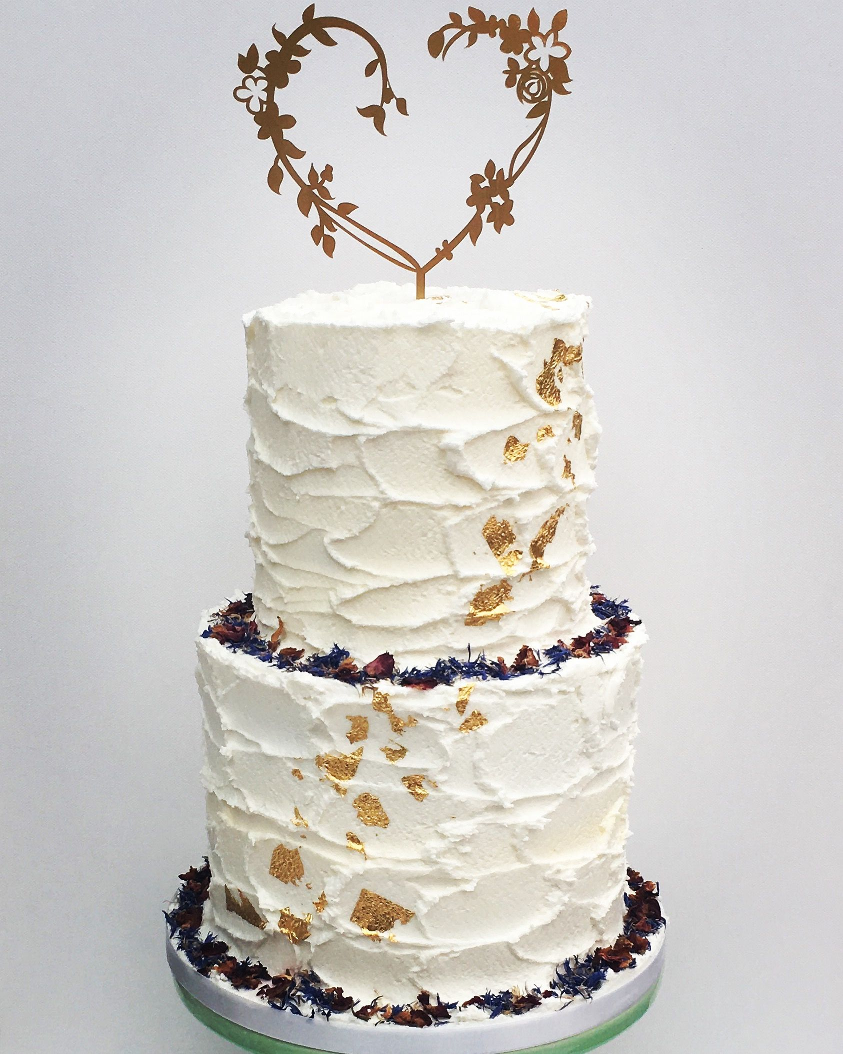 Flower Cake Toppers For Weddings: Rustic Buttercream Wedding Cake Gold Leaf Edible Flowers