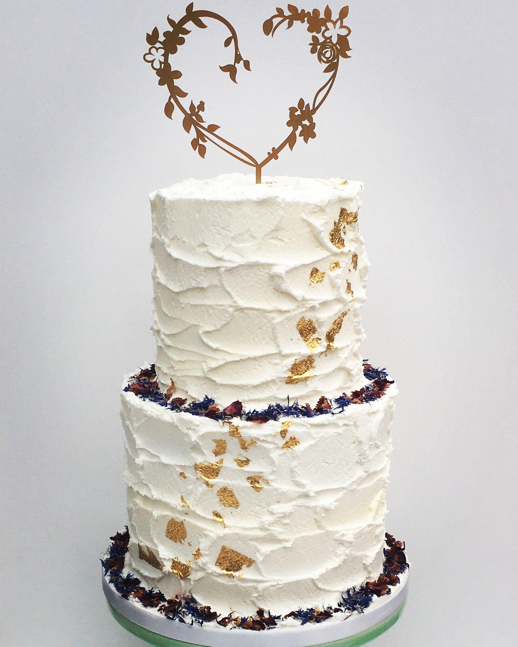 Rustic buttercream wedding cake gold leaf edible flowers cake topper ...