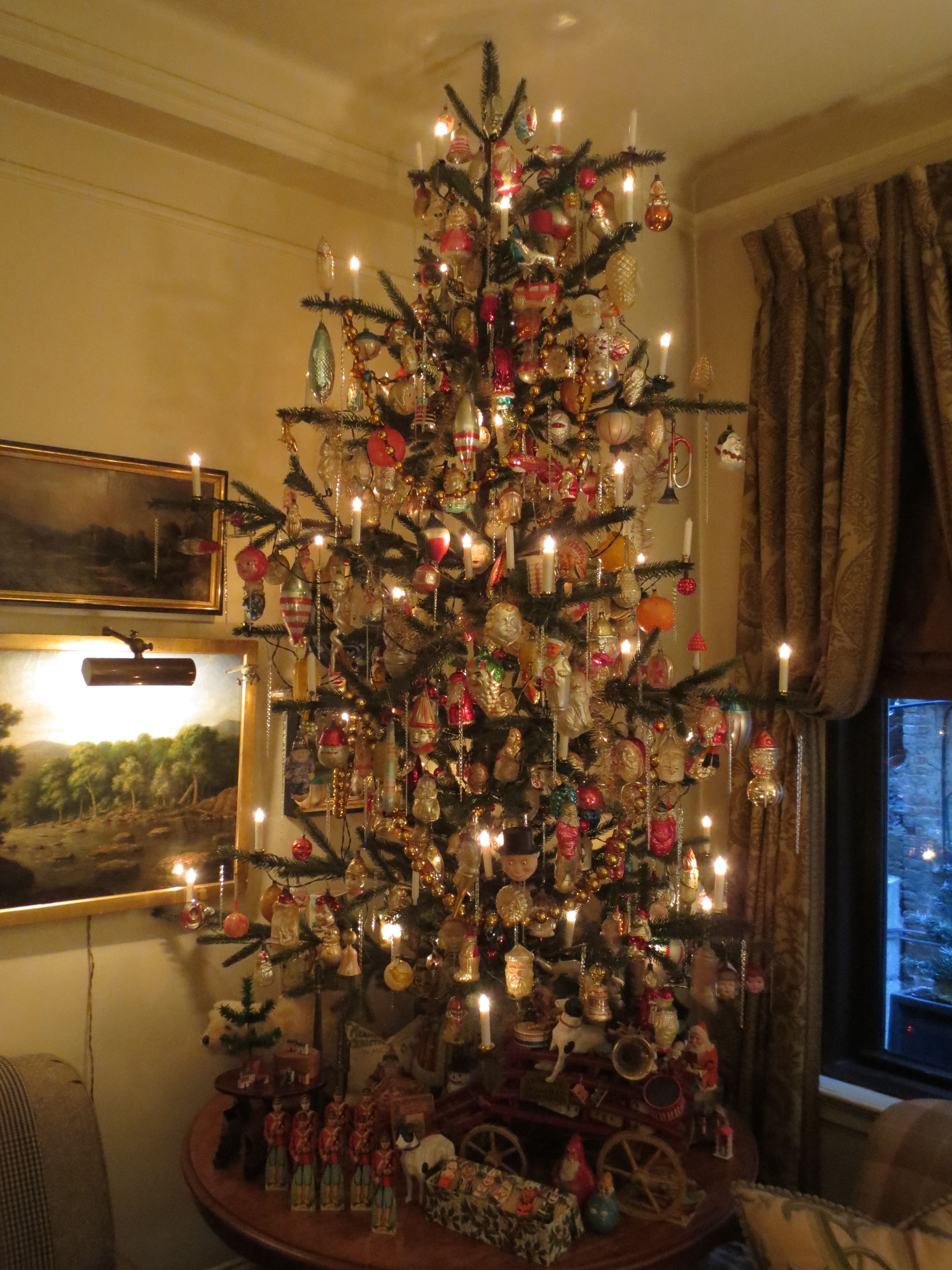 Living Room 7 Table Top Tree Filled With Antique German