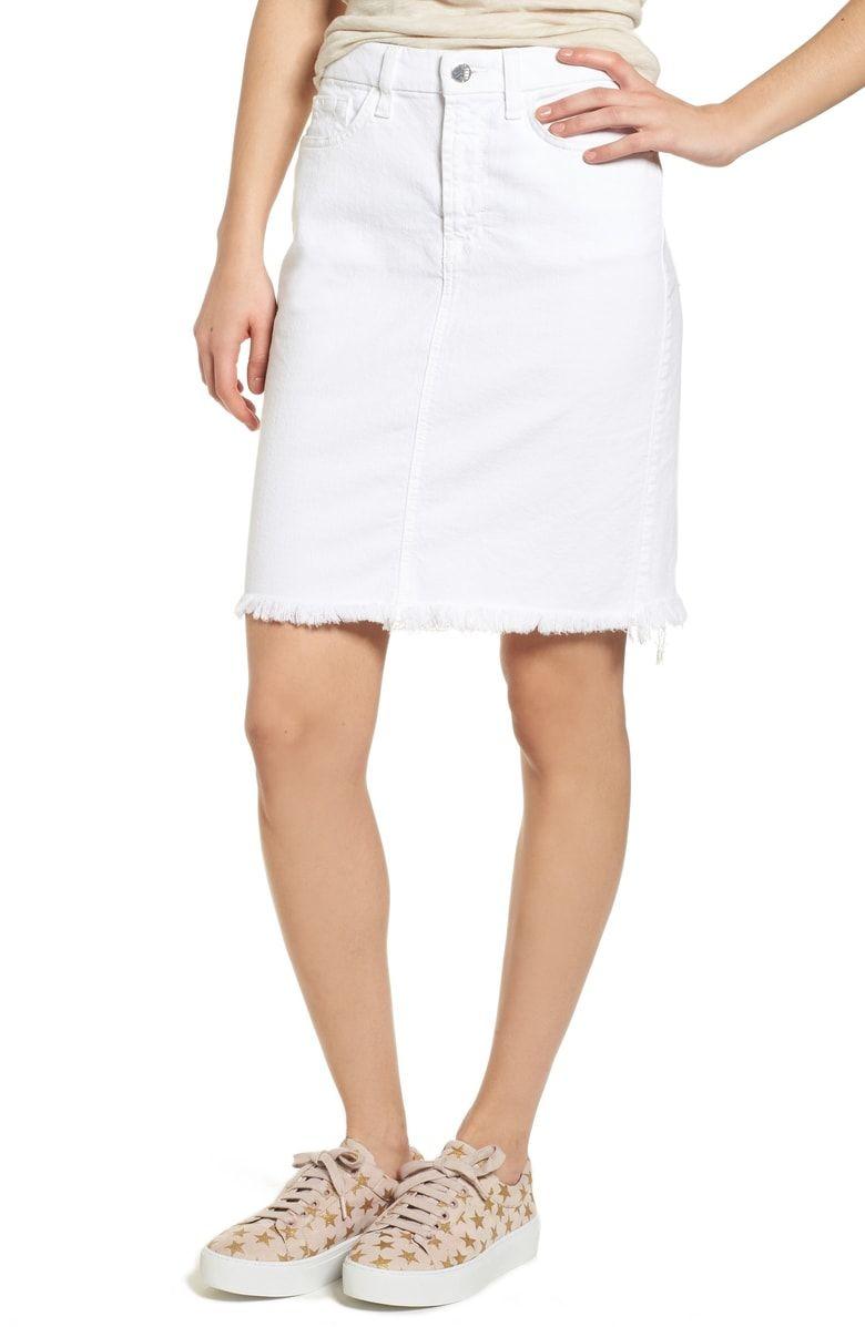 6eb51d63dd Jen7 White Denim Skirt | Saddha