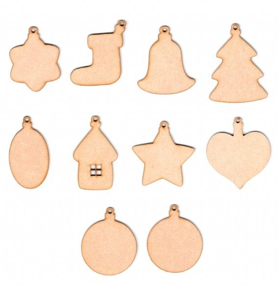 Signature MDF Plaques - Pack of 10 Christmas Decorations - UK Only