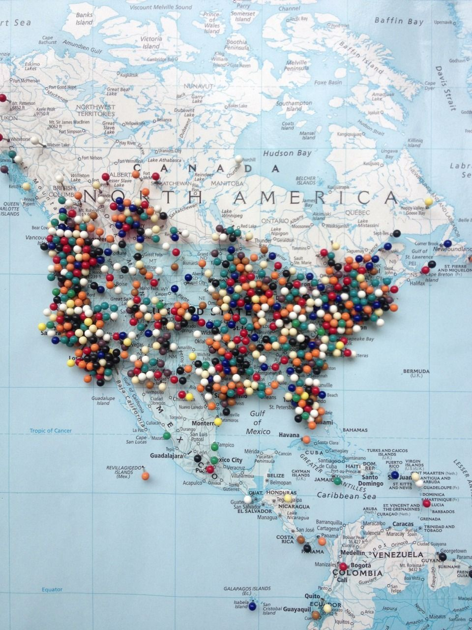 I want to go everywhere map love pinterest wanderlust buckets a great idea for some diy art track your destinations on a map covered pin board note the link doesnt really work gumiabroncs Images