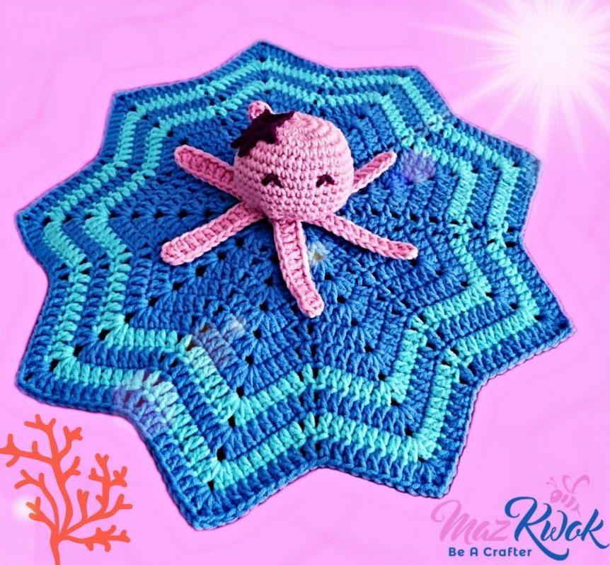 Oceanic Lovey Blanket #crochetsecurityblanket