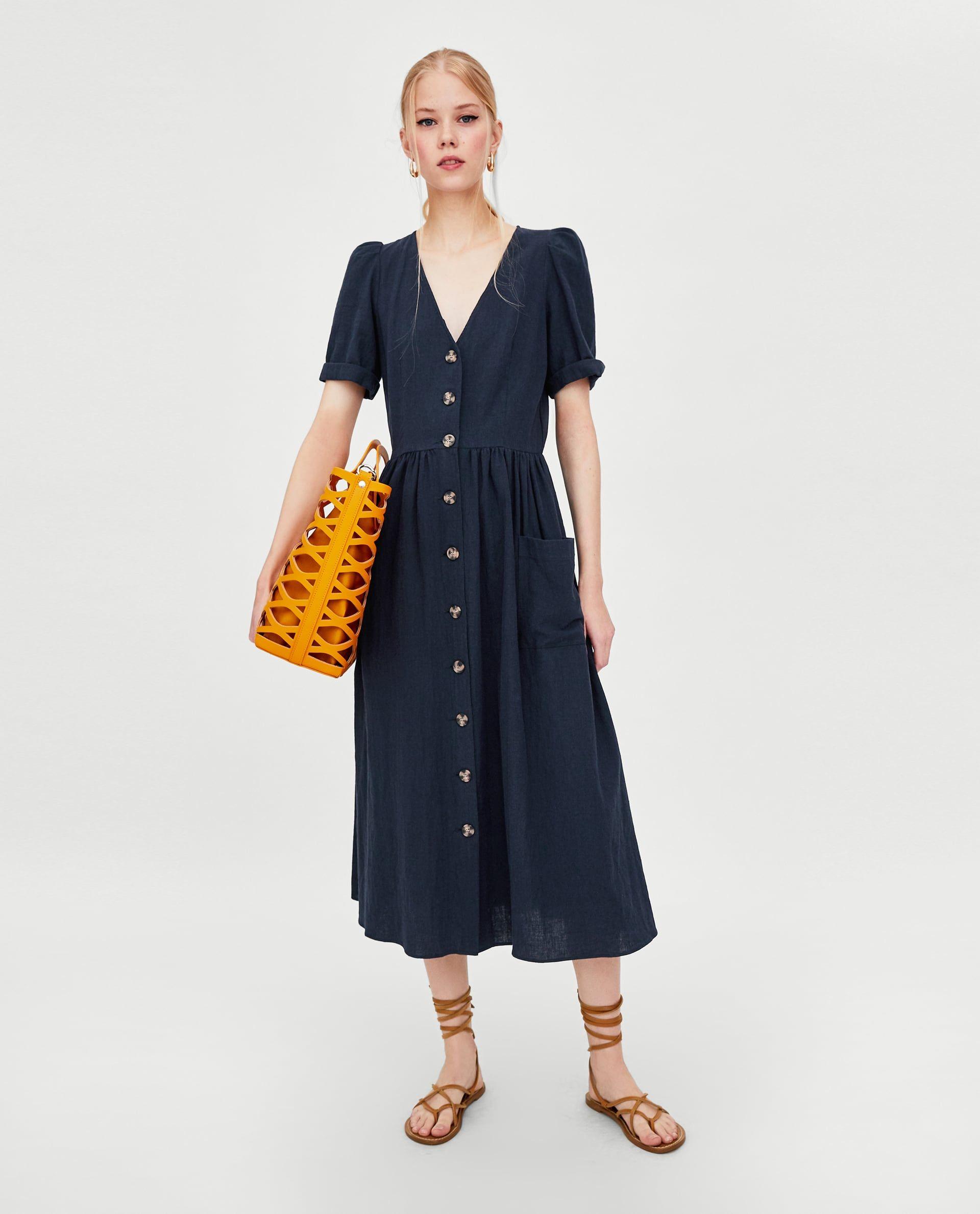 Image 1 Of Linen Midi Dress From Zara Fall Fashion Dresses Fall Dress Outfit Midi Dress