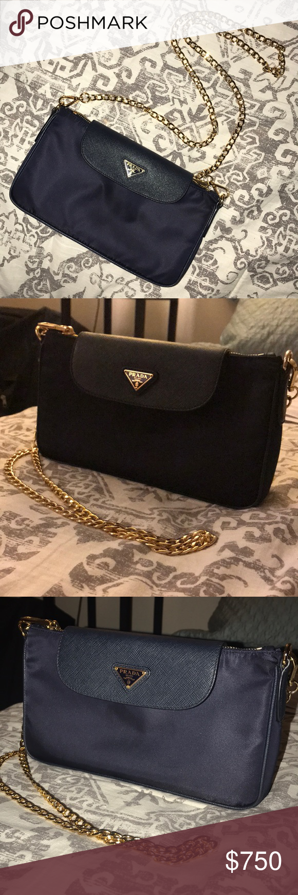 3c0c363aad2394 Authentic Prada Nylon and saffiano leather bag Authentic Prada shoulder bag,  gold attachable chain, zip closure , two inside compartments one with a  zipper. ...