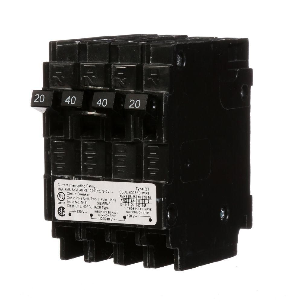 Siemens Triplex Two Outer 20 Amp Single Pole And One Inner 40 Amp Double Pole Circuit Breaker Q22040ct The Home Depot Breakers Circuit Triplex