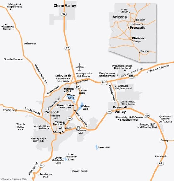 Map Of Arizona Prescott.Prescott And Surrounding Areas Prescott Area Maps Area Map Map