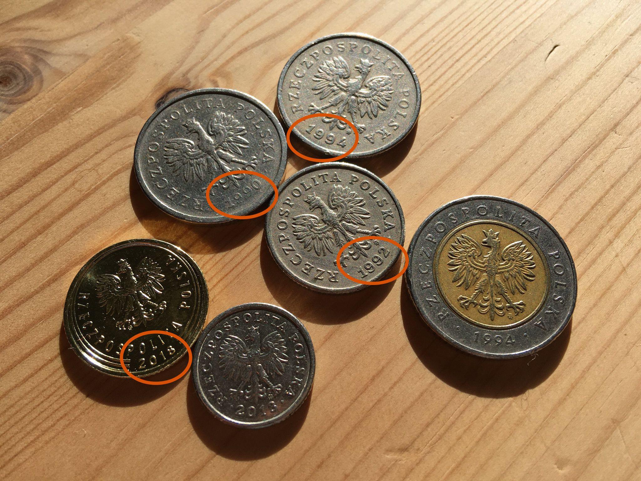 Монеты Польши с годами выпуска: 1990, 1992, 1994 и 2018