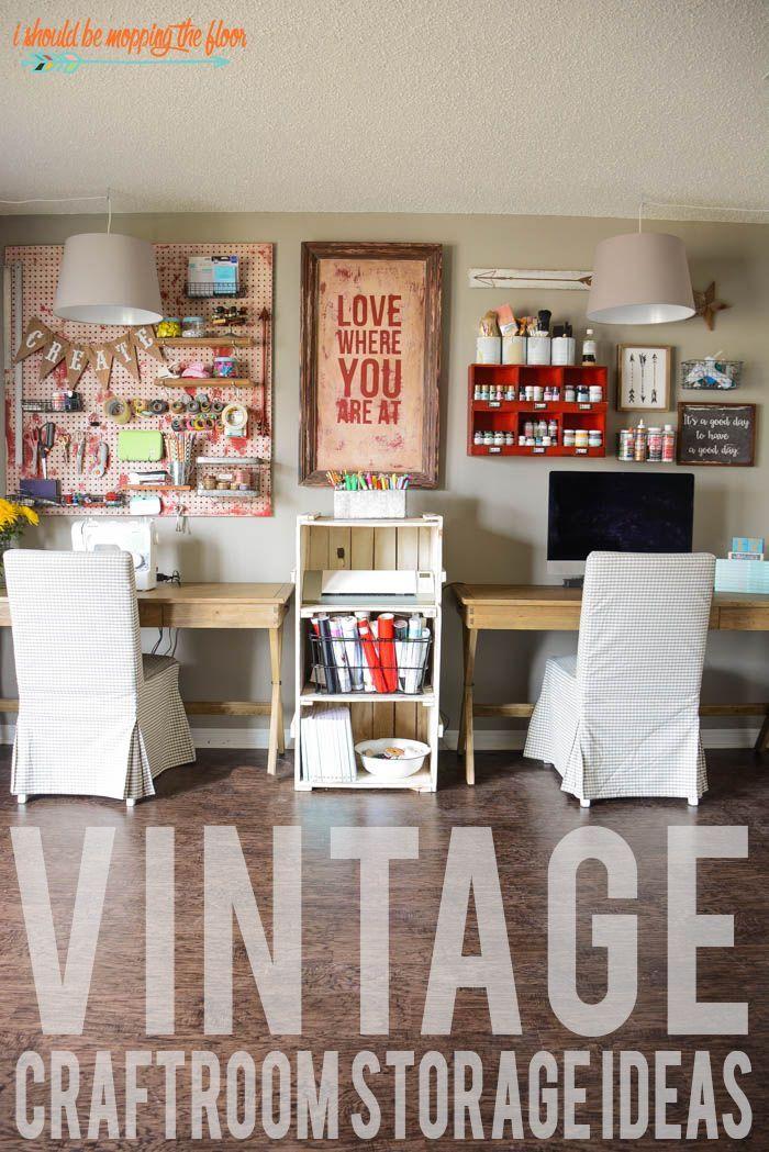 Charming Vintage Craft Room Organization