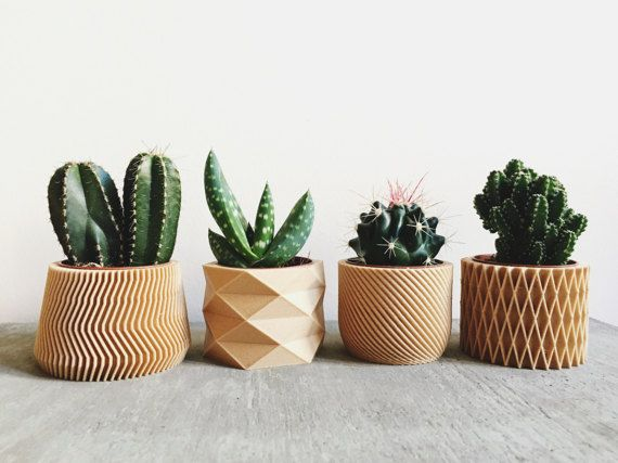 Set of 4 Pots / Planters Design Hygge printed in Wood perfect for ...