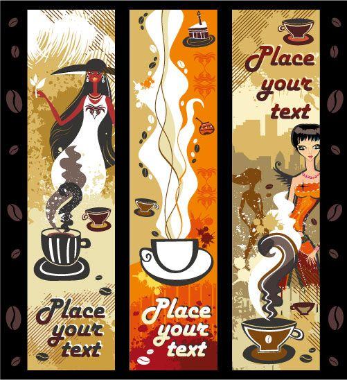 女性与咖啡主题矢量素材