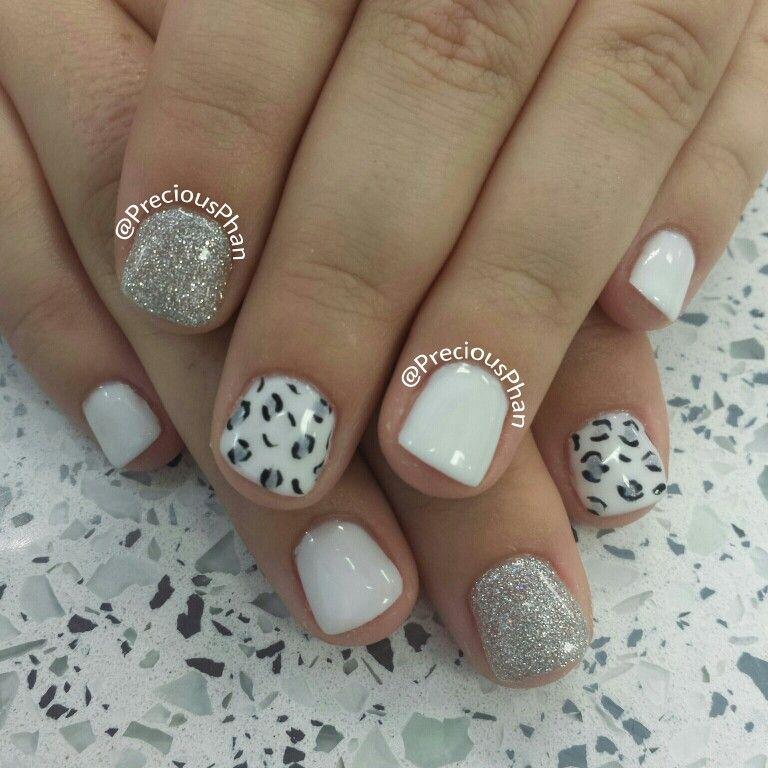 White and sliver cheetah nails | Precious Phan♥ | Pinterest ...