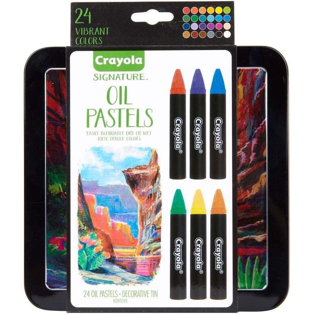 Crayola Signature Oil Pastels W Tin Assorted Colours 24 Pack Only