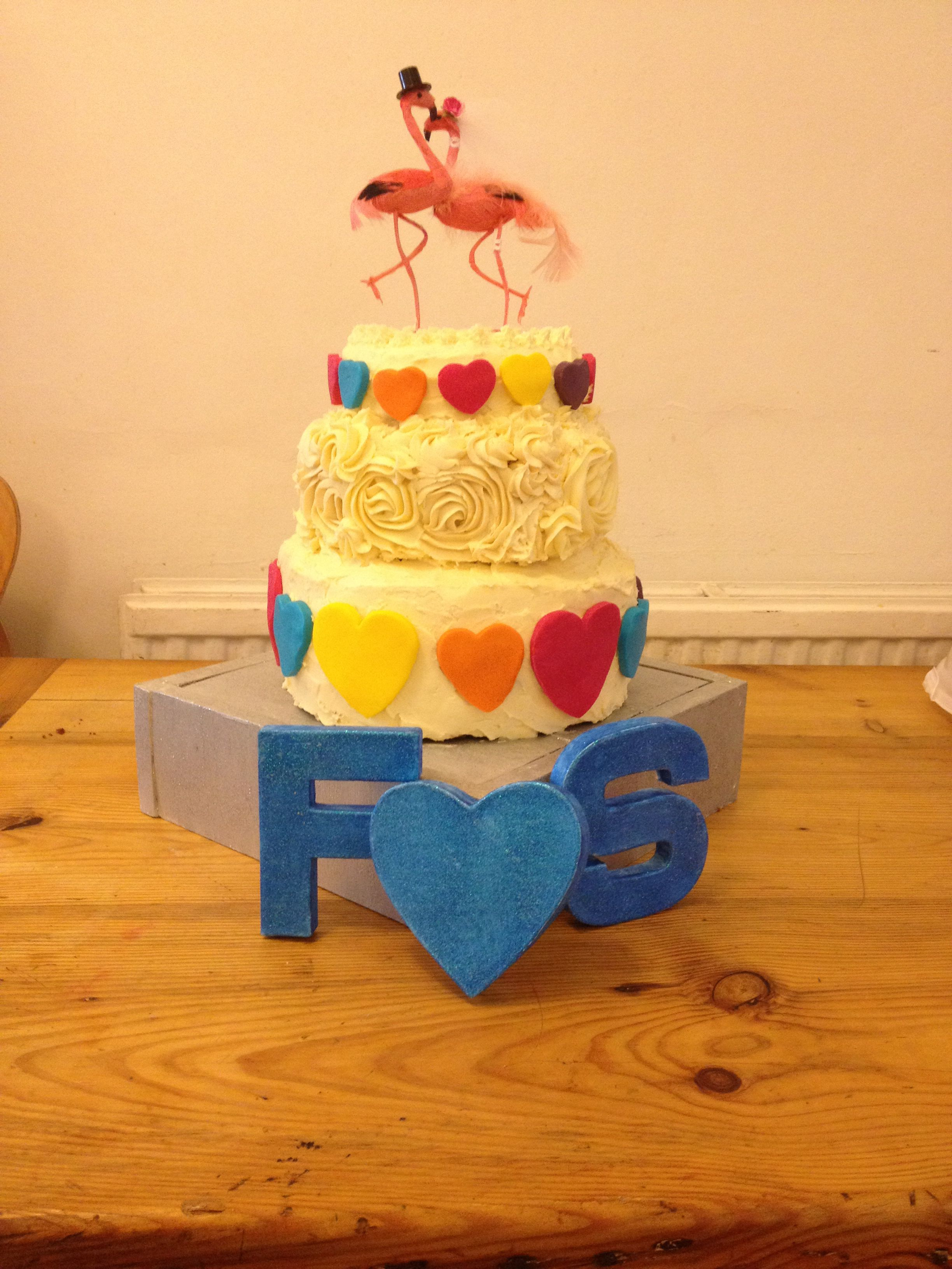 Cake I made for my best friends wedding. Simple vanilla sponge ...