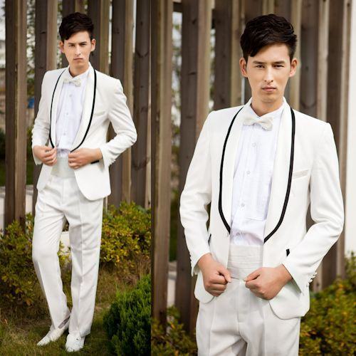 4 Piece Ivory White Slim Fit Wedding Prom Tuxedo Dress Suit For