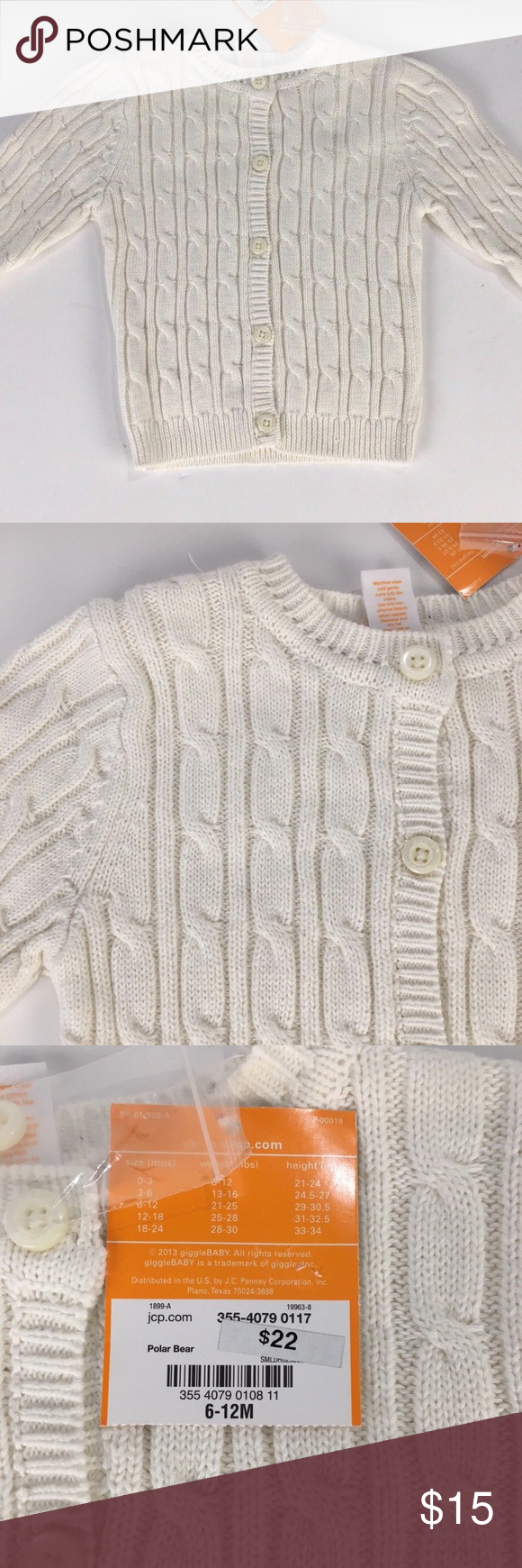 05f476fabbe2 Giggle Baby Off White Cable Knit Cardigan 6-12 mo NWT