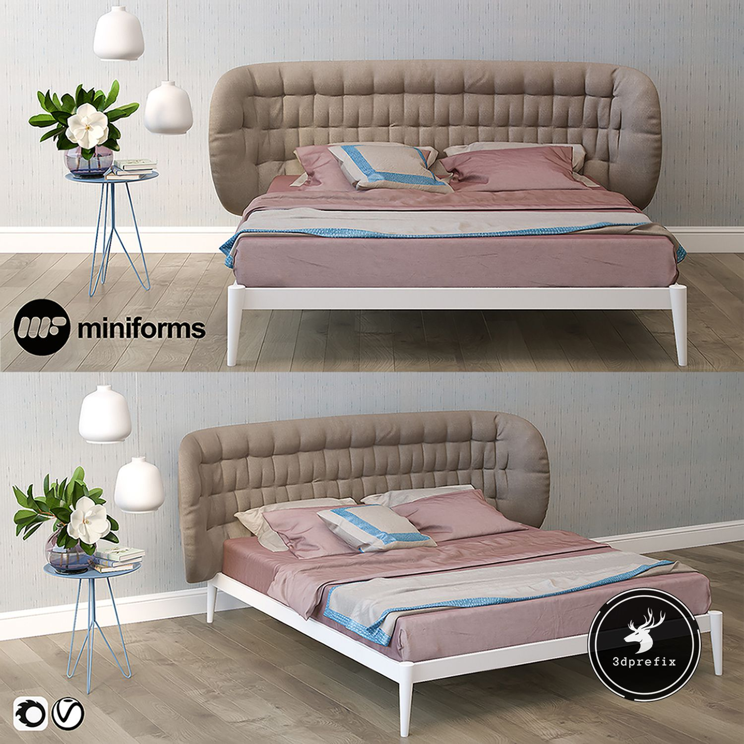 2551 Miniforms Bed Sketchup Model Free Download