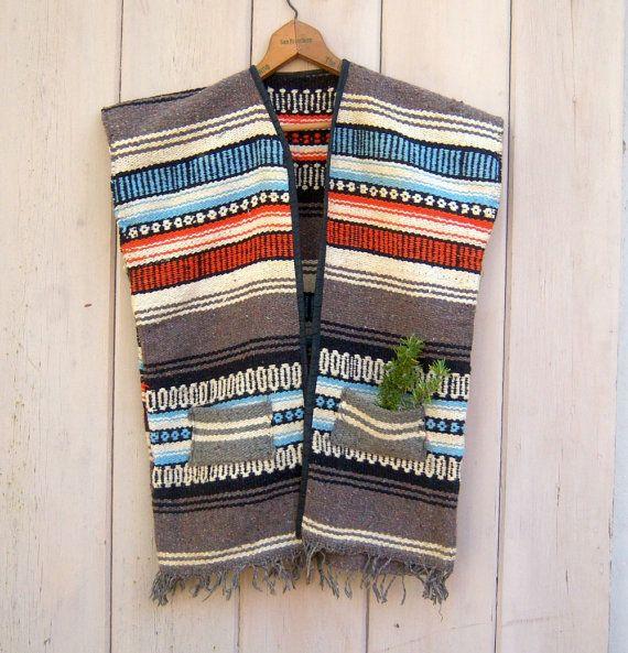 Vintage Mexican Blanket Serape / Hippie Tribal Vest