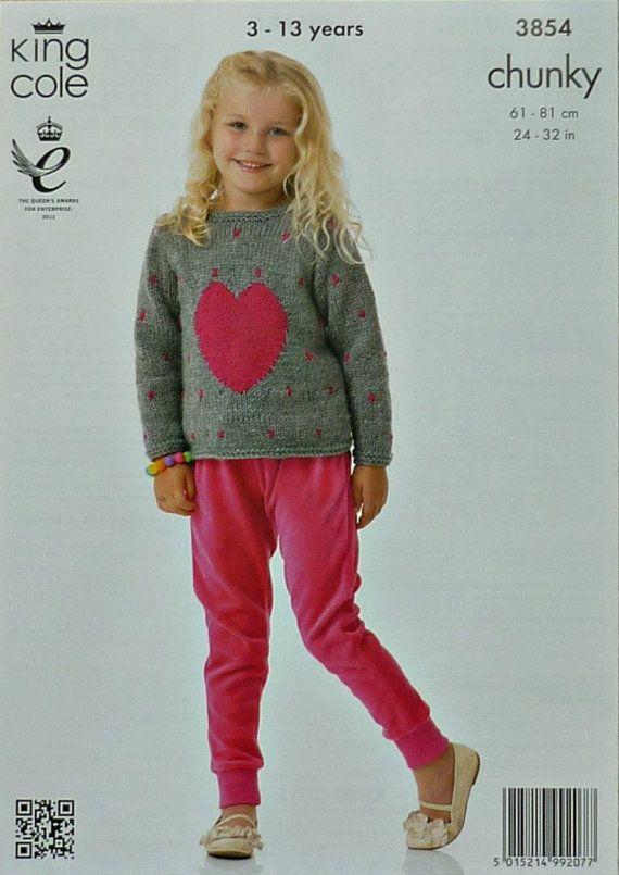 Girls Knitting Pattern K3854 Childrens Long Sleeve Round Neck Heart