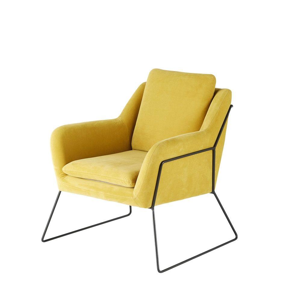 fauteuil en velours jaune moutarde en 2019 home velvet. Black Bedroom Furniture Sets. Home Design Ideas