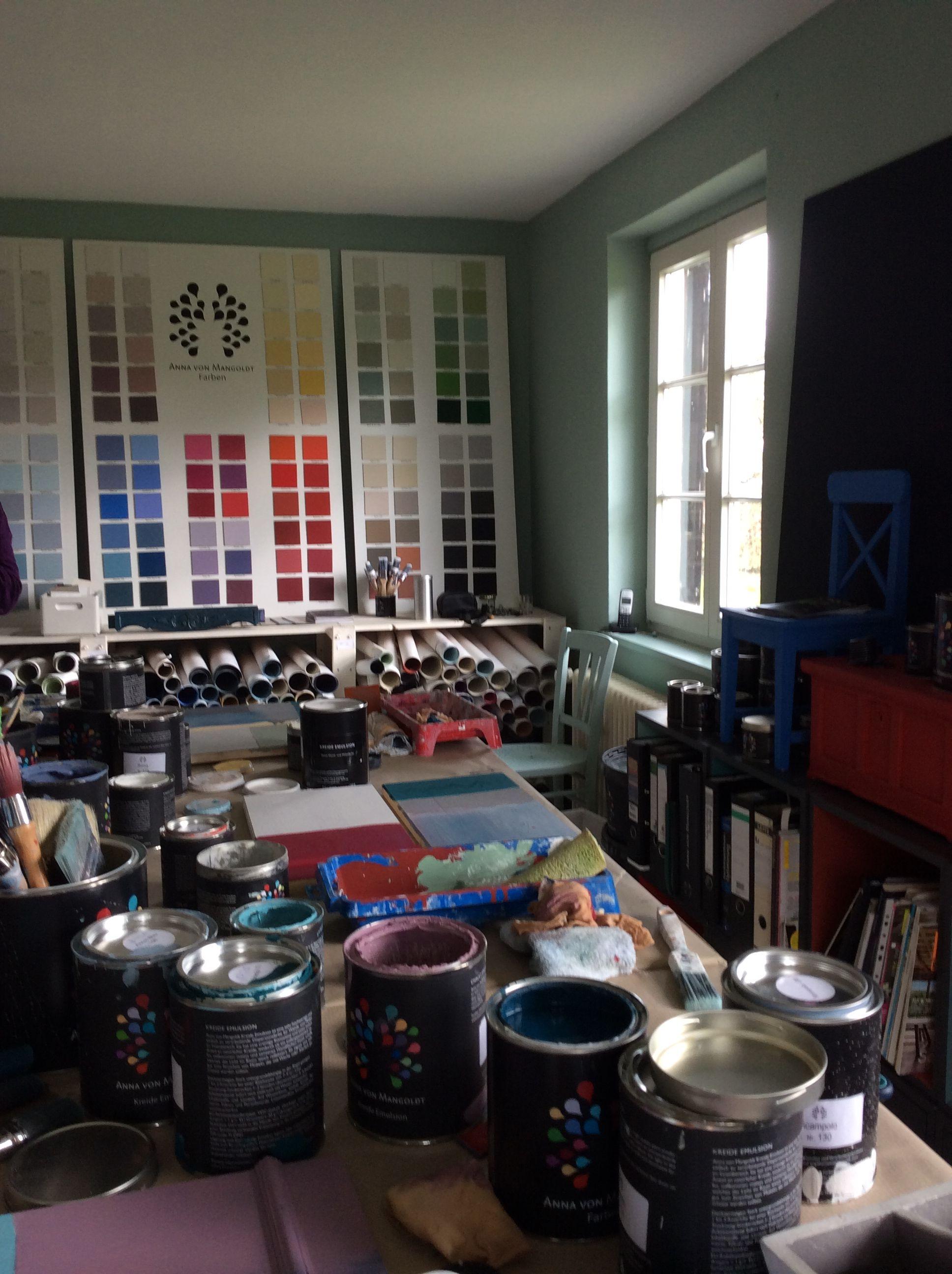 Mein Atelier In Holzhausen Ein Großer Tisch Viele Farben Gute