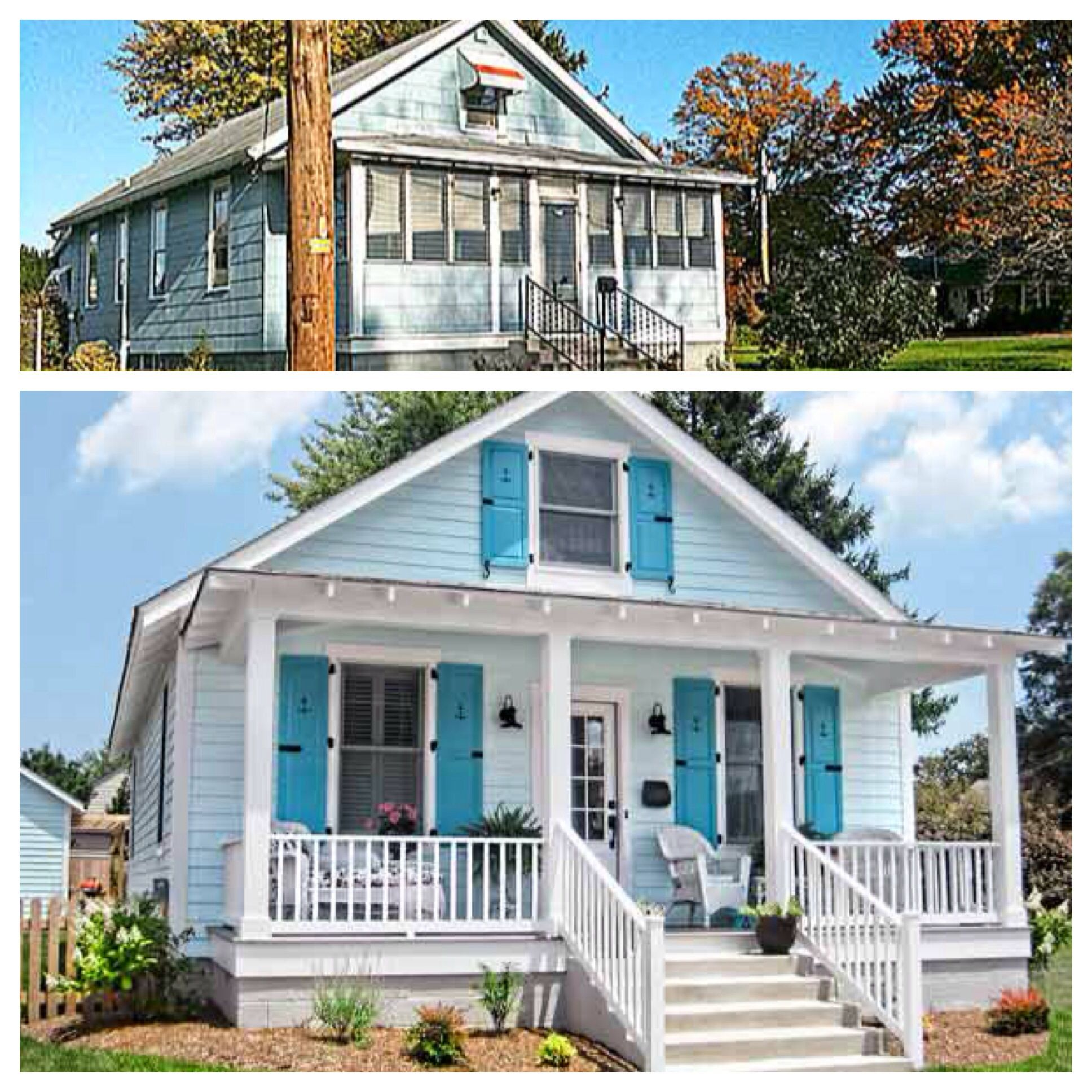 Before and after curb appeal restore and open up porch for Beach front cottage