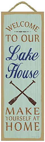 SJT02578 Welcome to our lake house Make yourself at home oar image lake primitive wood plaques signs  measure 5 x 15 size *** You can get more details by clicking on the image.