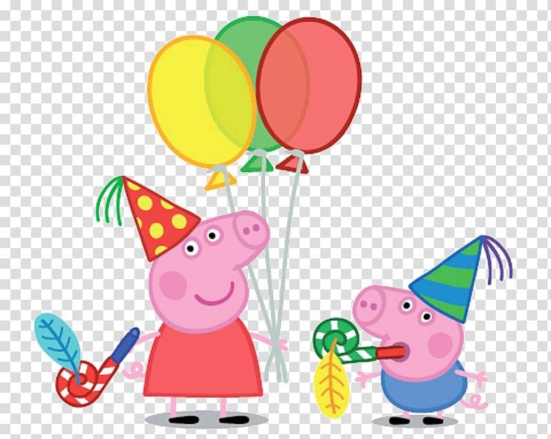 George Pig Daddy Pig Party Birthday Pig Peppa Pig Holding Balloons Transparent Background P Peppa Pig Background Peppa Pig Birthday Party George Pig Birthday