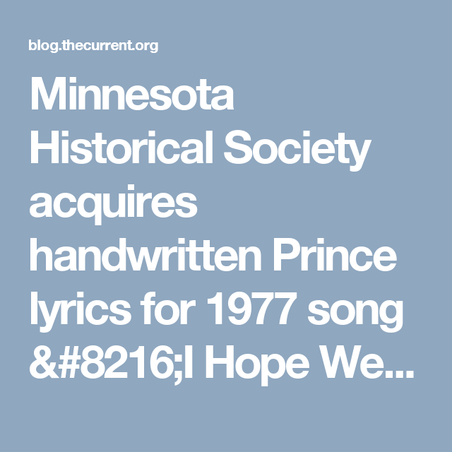 Minnesota Historical Society acquires handwritten Prince lyrics for 1977 song 'I Hope We Work it Out'