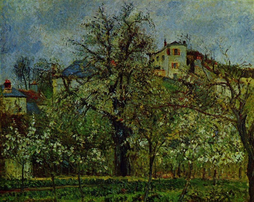 Landschaftsmalerei impressionismus  Camille Pissarro. Obstgarten mit blühenden Bäumen. 1877, Öl auf ...