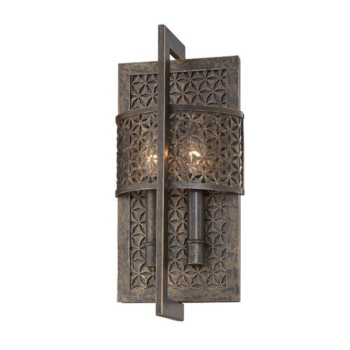 Metropolitan Lighting Ajourer French Bronze With Jeweled Accents Two - Two light bathroom sconce