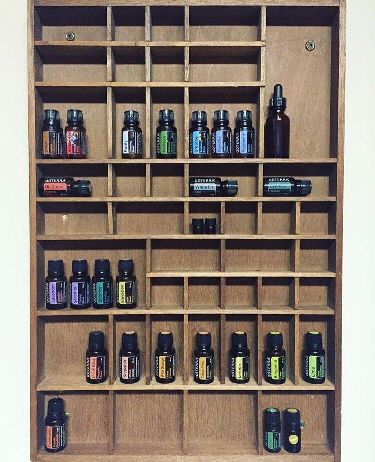 Storage Ideas For Essential Oils: Vintage Divided Shelf To Store Essential Oils