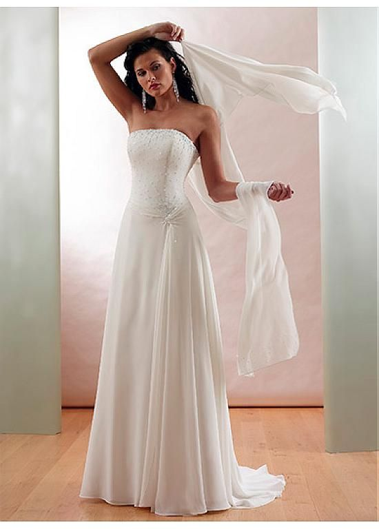 Chiffon Strapless Wedding Dress With A Shawl Bridesmaid Party Ball