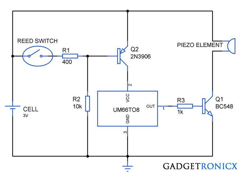 musical greeting card circuit using um66 ic electronic circuits rh pinterest com